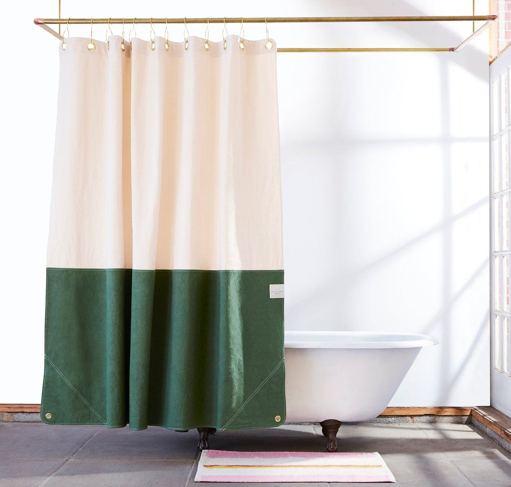 Orient Pine Color Blocked Canvas Shower Curtain Diy Shower