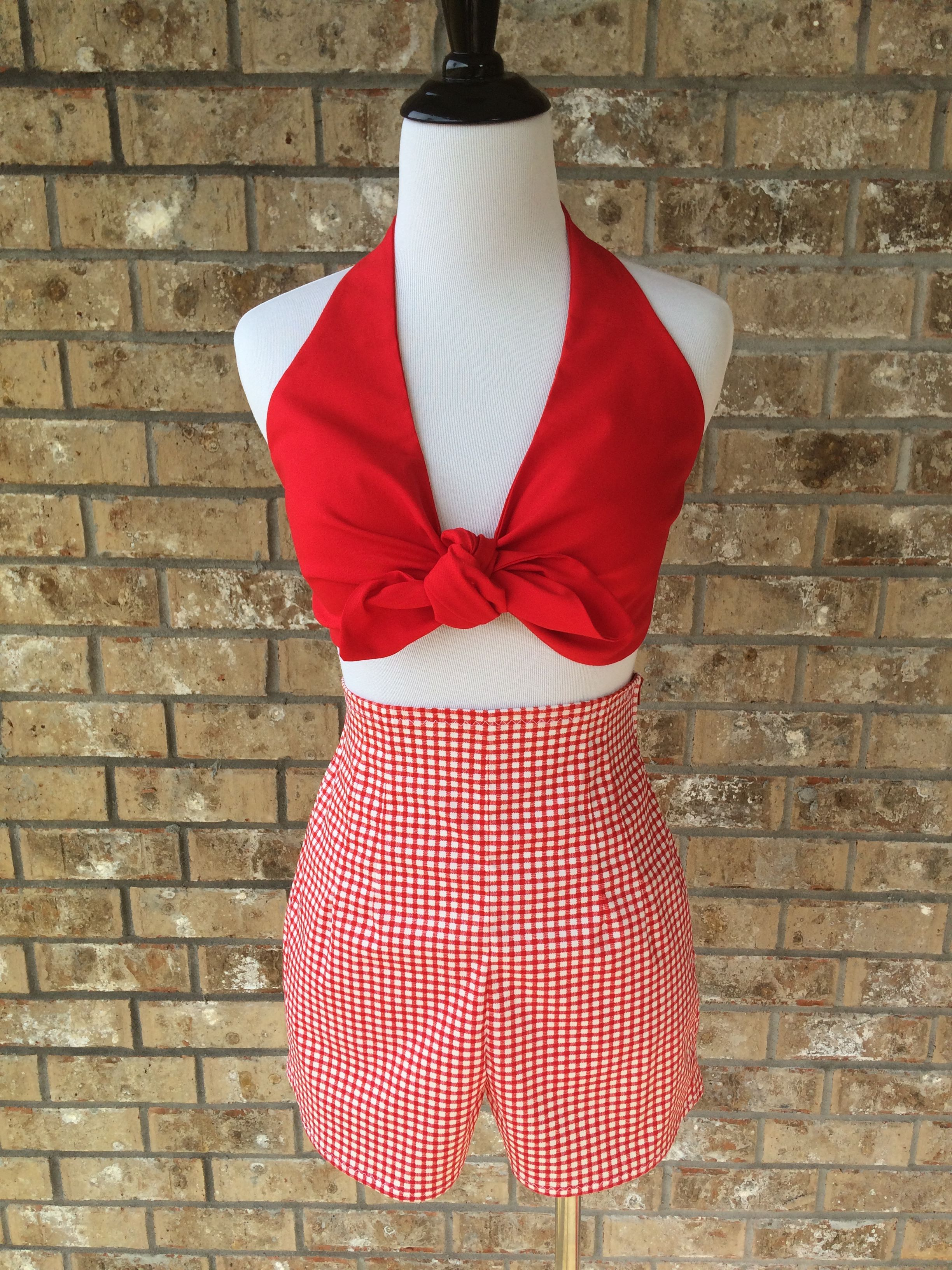 e3c298ecf1 My Handmade Jayne Retro Shorts in Red Gingham. Paired with my Reversible Daisy  Mae Tie