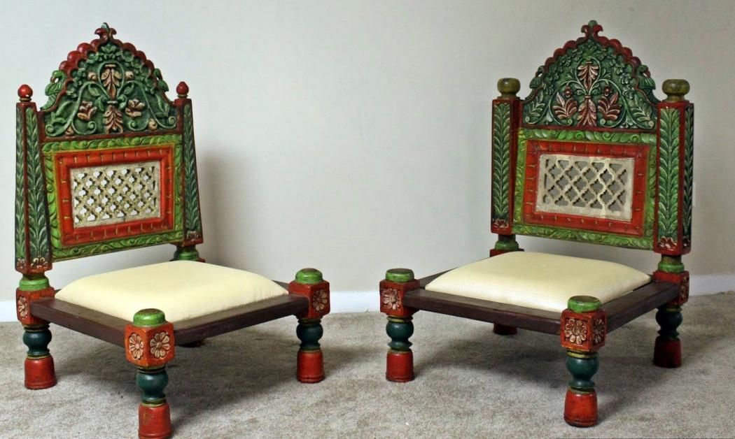 Handcarved Teak Wood Low Height Pidha Chairs 2 Pcs Indian