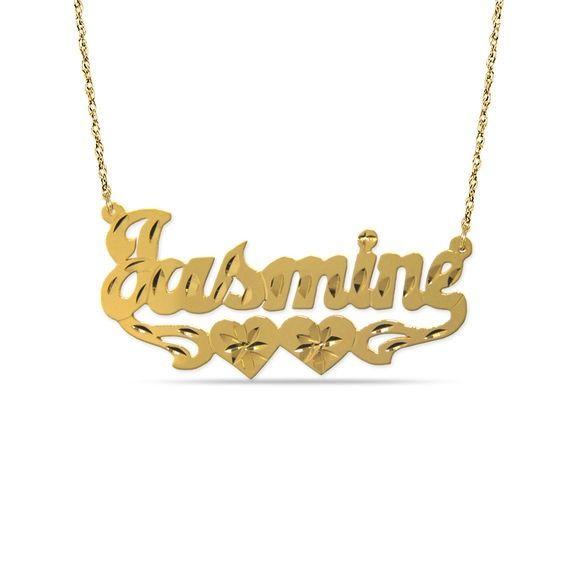 311b9c1dc977f 12K Gold Fill Bronze Double Heart Diamond-Cut Name Plate Pendant (8 ...