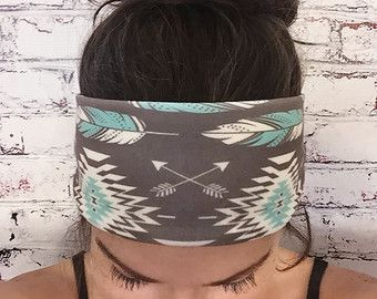 Yoga Headband Feathers Silver Gray Eco di BohemianGypsyJane