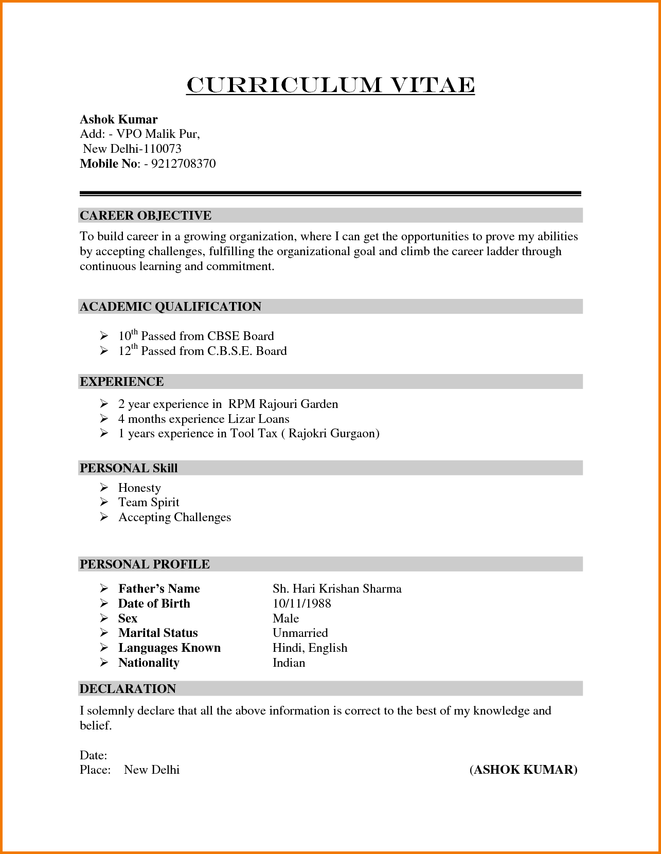 Formal Format Sample Financial Statement Form Resume Outline