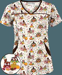 05af01fe4ee UA Owl Thanksgiving Black Print Scrub Top | Cute Fall Scrubs ...