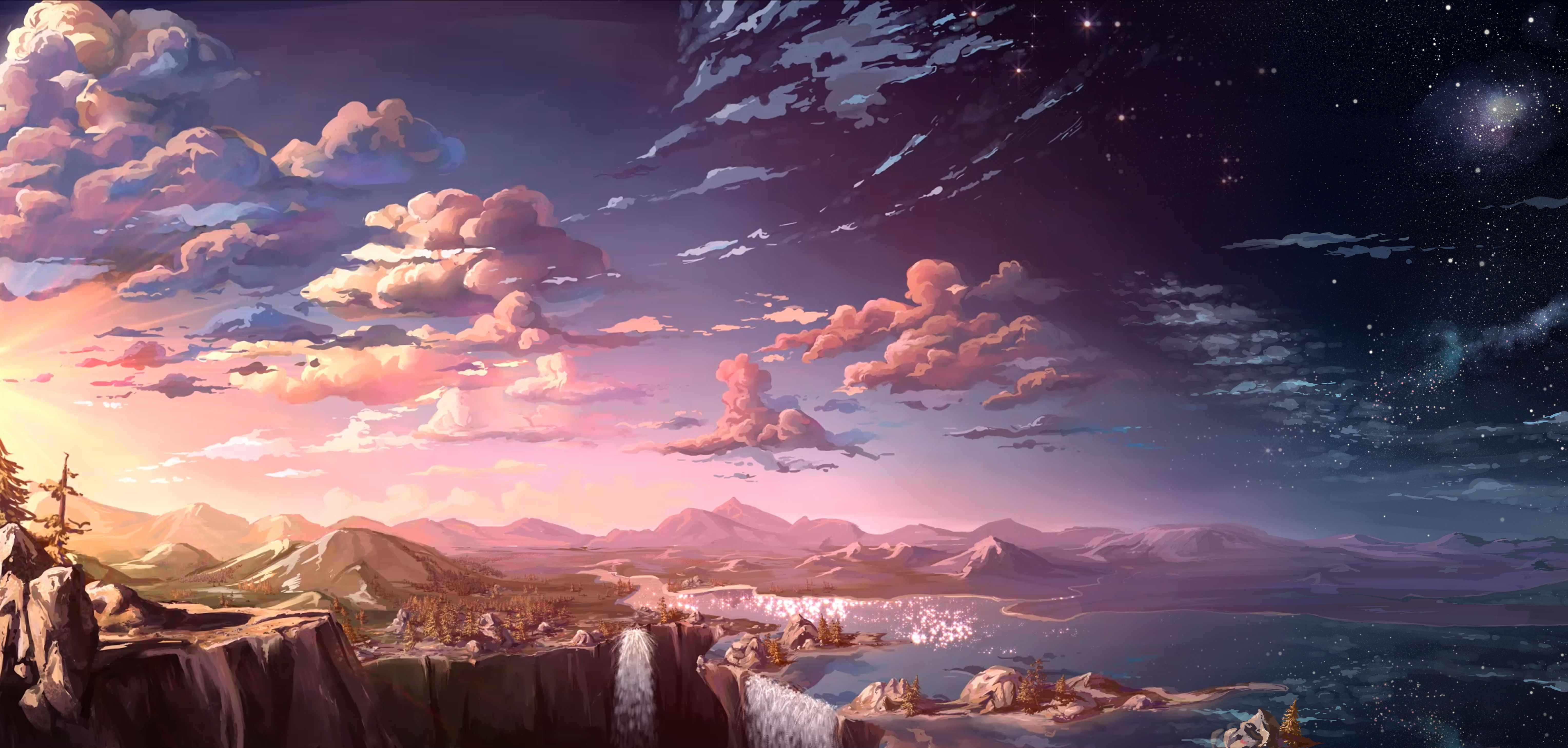 landscape, rocks, horses, riders, wild, west, sunset, anime ...