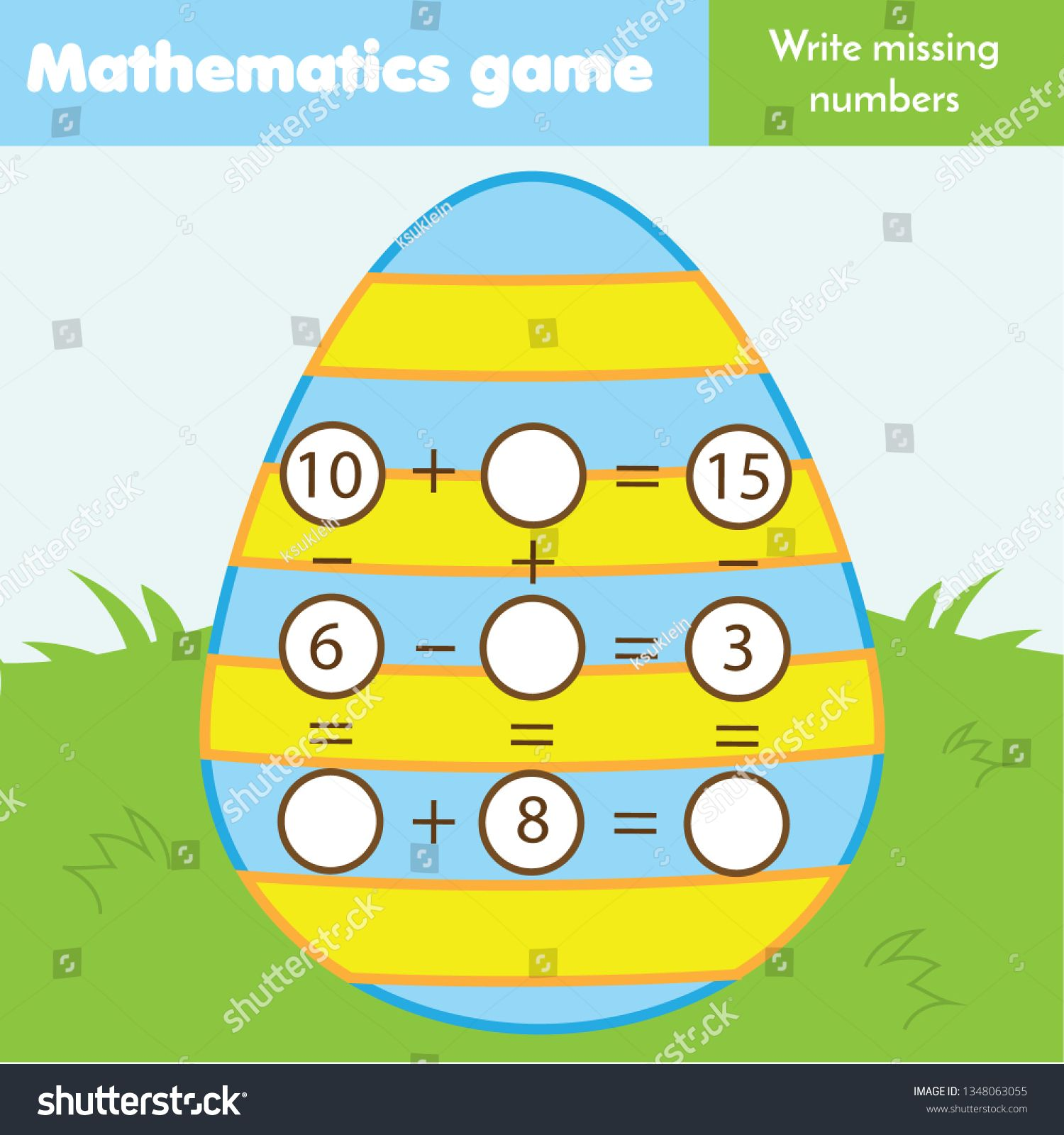 Math Educational Game For Children Write Missing Numbers