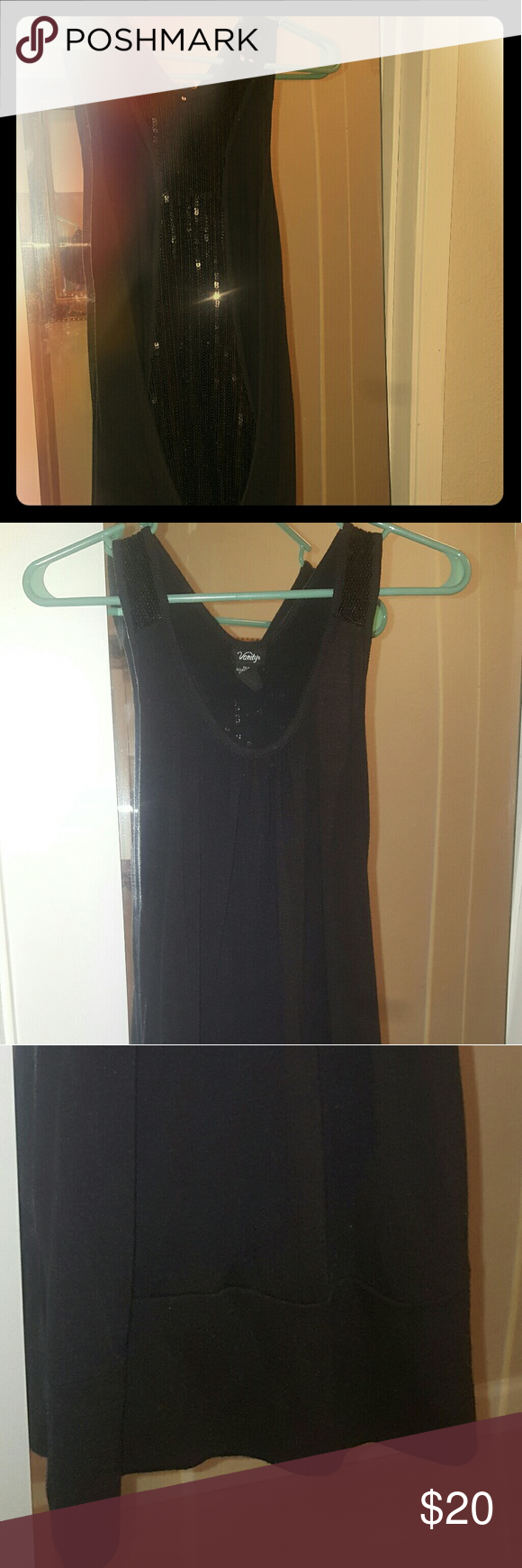 Racer back Party Tunic Black sequin racer back long tunic. Great for a hot night out! Las Vegas style! Vanity Tops Tunics