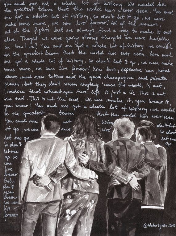 """Photo of Watercolor illustration of One Direction with """"History"""" lyrics"""