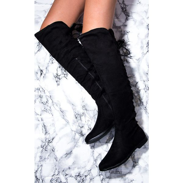 e218ccbc575 SpyLoveBuy Vive Stretch Flat Knee High Tall Boots Black Suede Style ( 45) ❤  liked