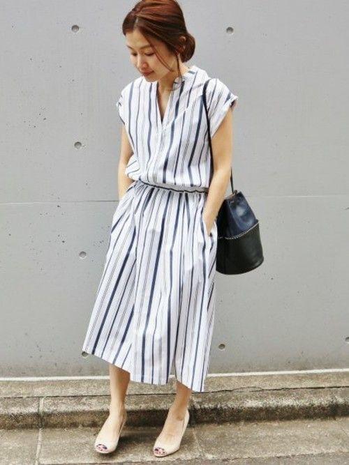 suzy iena 本社 ienaのシャツワンピースを使ったコーディネート wear ファッション ワンピース ストライプ ワンピース