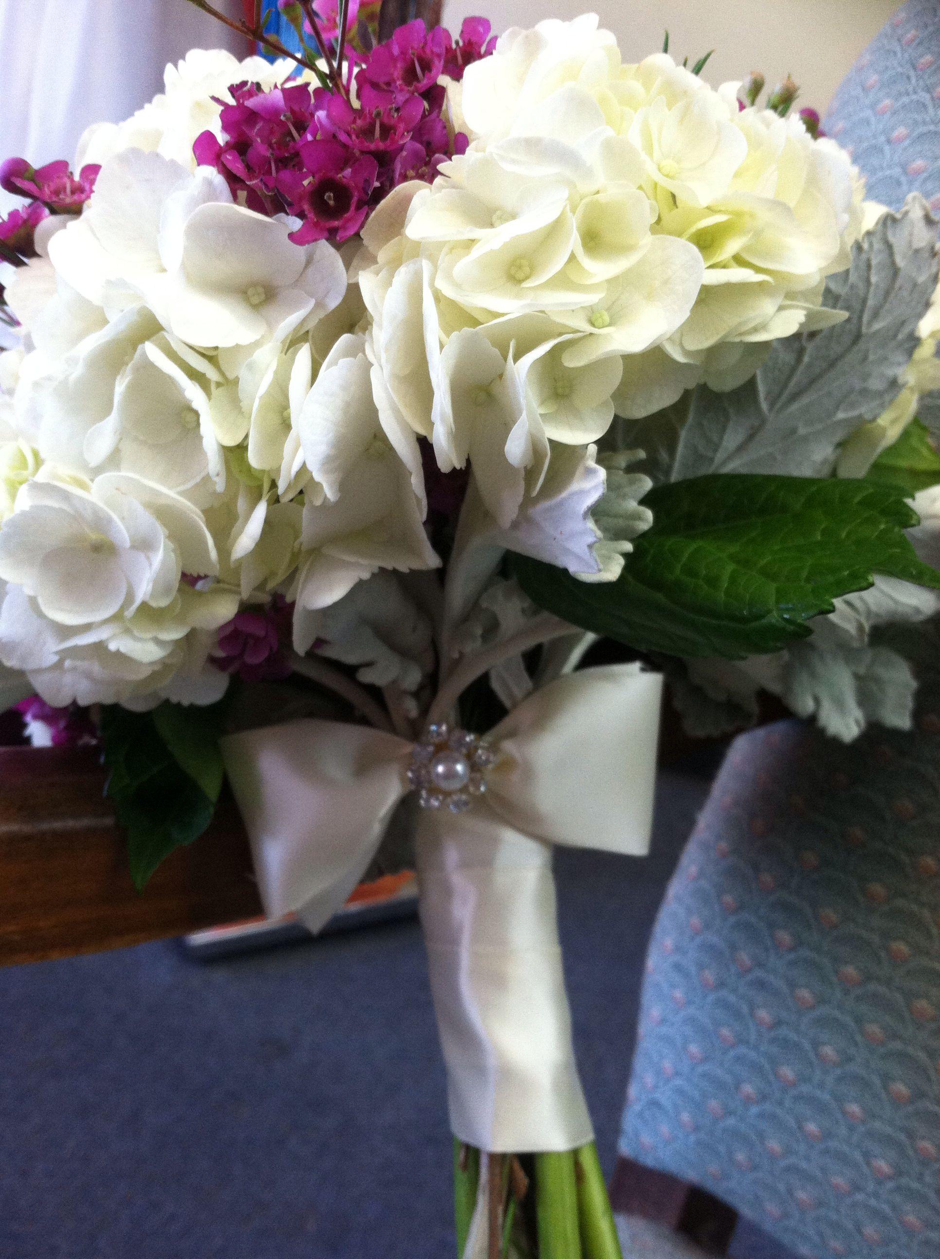 Hydrangea and purple wax flower bouquet wedding pinterest wax hydrangea and purple wax flower bouquet izmirmasajfo