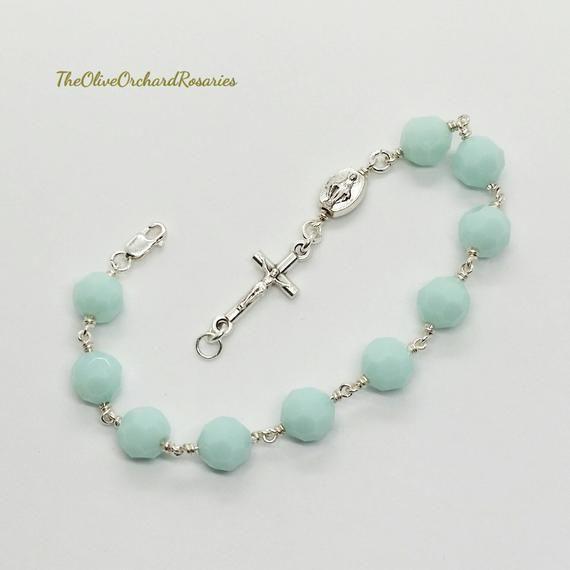 500604d33 Women's Miraculous Medal Mint Alabaster Swarovski Crystals Rosary Bracelet  Handmade Catholic Gifts