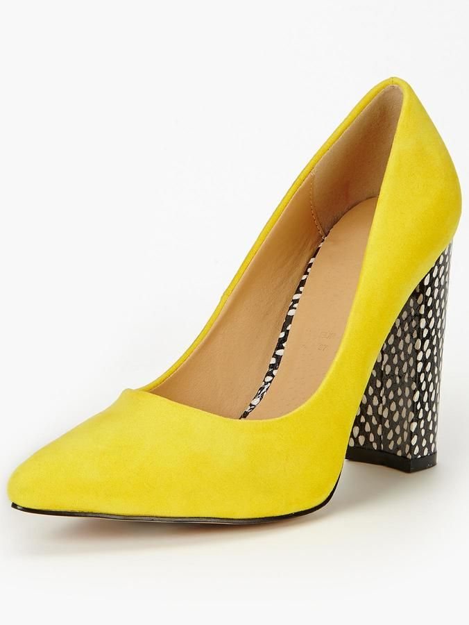 b836885546a Shoe Box Imogen Block Heel Point Court Shoes - Yellow on shopstyle ...