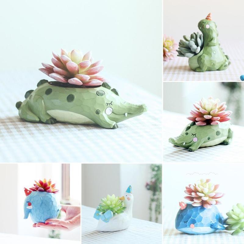 1pc Creative Resin Flowerpot Kawaii Dinosaur Garden Pots Planters Bonsai Desk Succulent Flower Pot Can Pots Bonsai Planter H3
