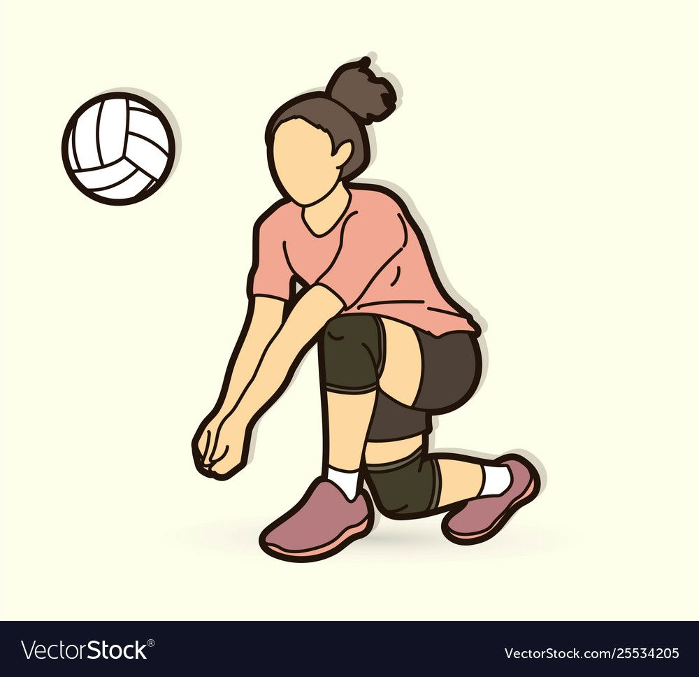 Woman Volleyball Player Action Cartoon Graphic Vector Download A Free Preview Or High Quality Adobe Illustrator Ai In 2020 Volleyball Players Running Cartoon Cartoon