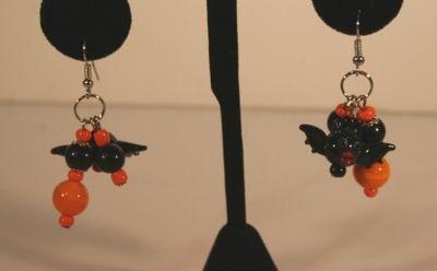Dangle bat earring