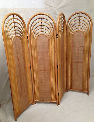 Vintage Folding 4 Panel Cane Wicker Rattan Screen Room Divider Sunroom Bentwood