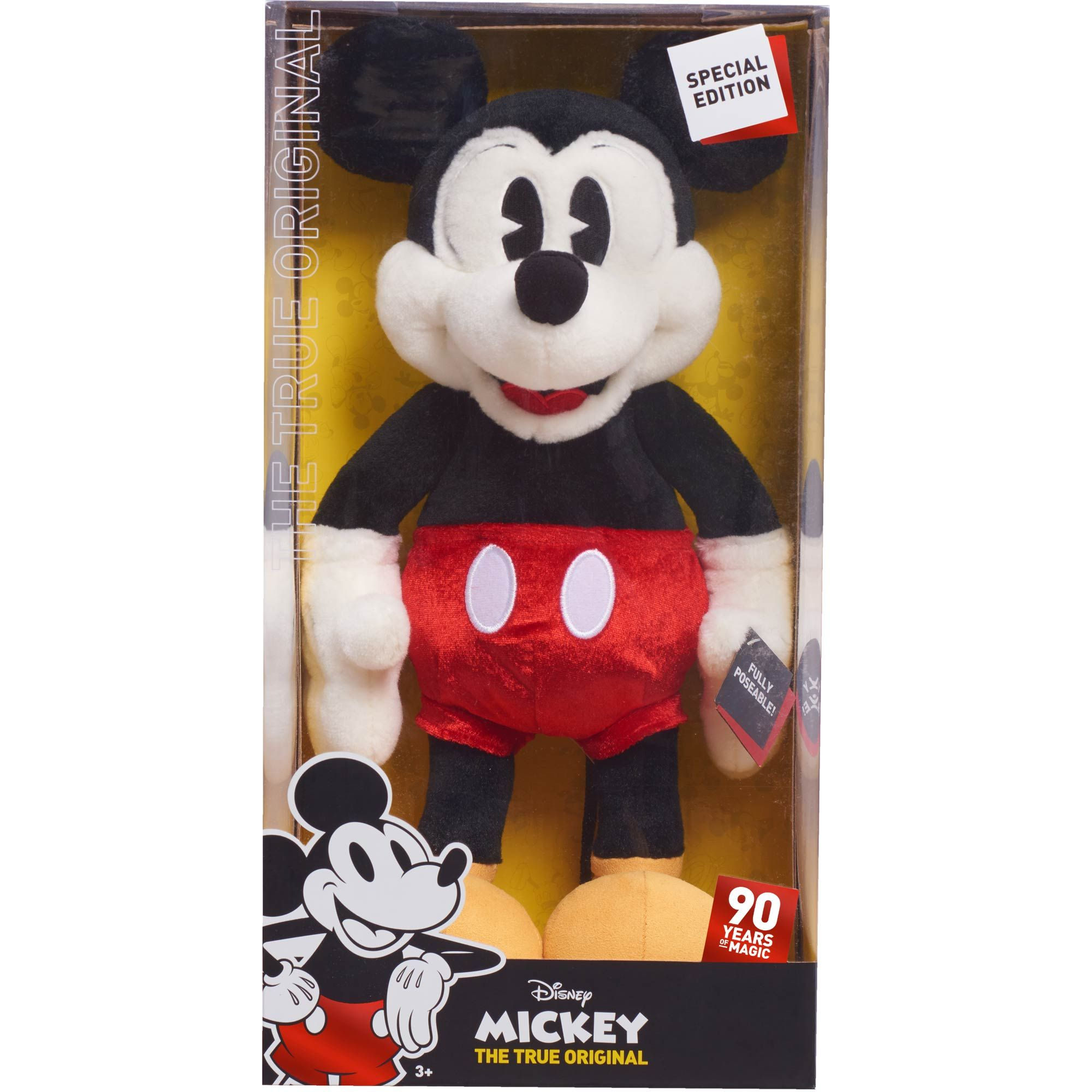 a26f4edbd26 Celebrate 90 years of Disney magic with the Mickey s 90th Anniversary Ultra  Deluxe Mickey Mouse Plush from Just Play. Pie-Eyed Mickey comes packaged in  a ...