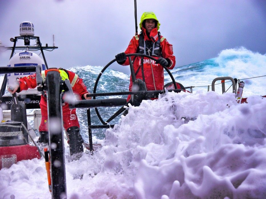 Stuart Bannatyne and Adam Minoprio on watch as CAMPER with Emirates Team New Zealand pass into the 'furious fifties' on their way South to Cape Horn during leg 5 of the Volvo Ocean Race 2011-12, from Auckland, New Zealand to Itajai, Brazil.