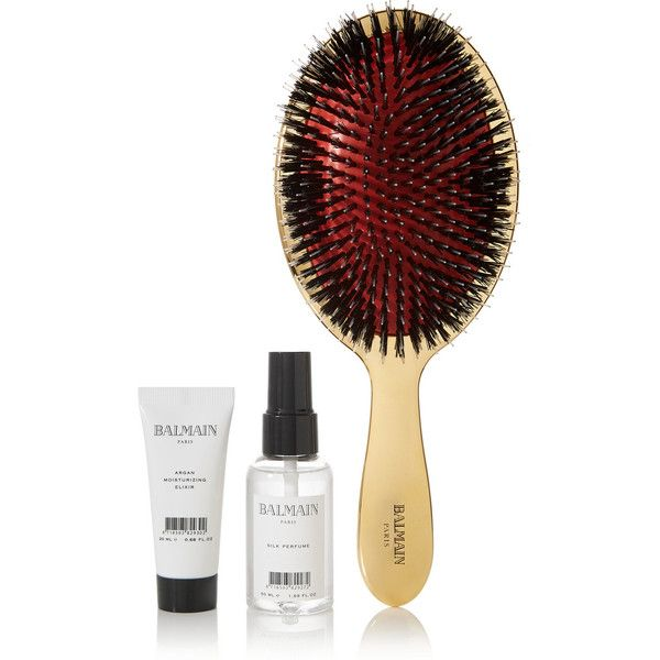 Balmain Paris Hair Couture Gold boar bristle brush & haircare set featuring polyvore, beauty products, haircare, hair styling tools, brushes & combs, gold, boar bristle brush, balmain, balmain perfume, gold perfume and gold brush