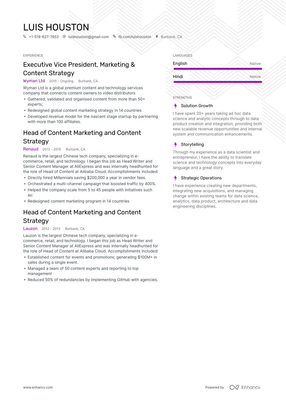 Download content strategy resume example for 2020