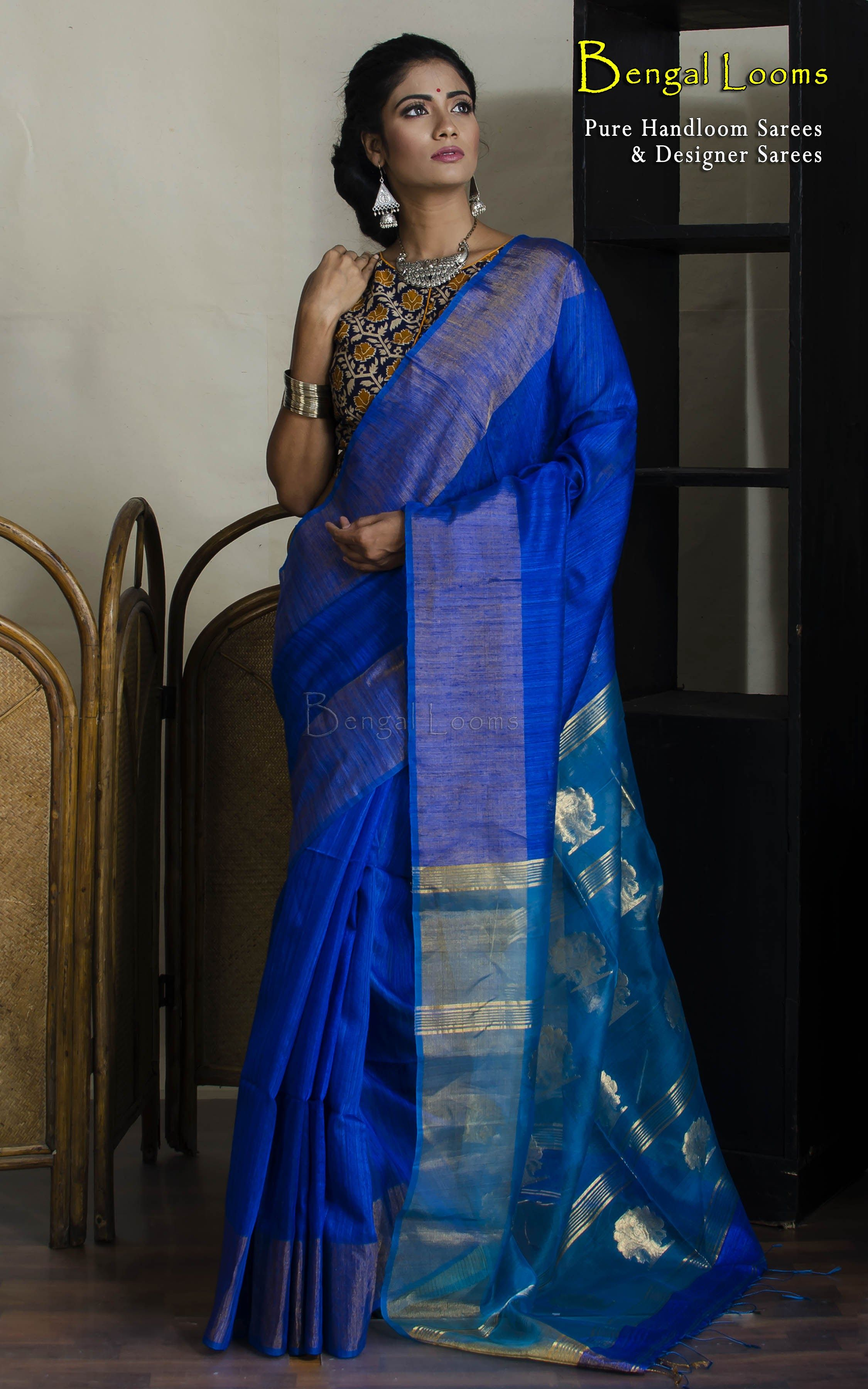 1b013888cd3db9 Royal Blue color Handloom Khadi Cotton Silk Saree with Muslin Jamdani  Anchal.
