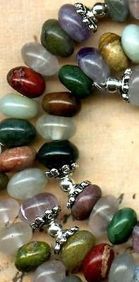 "Multistone Rondell Beads Lapis Unakite Amethyst handcut 8mm Diam LONG18"" Strand | eBay"