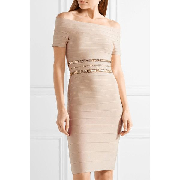 Marina Off-the-shoulder Crystal-embellished Bandage Dress - Beige H xYPj4xcbr