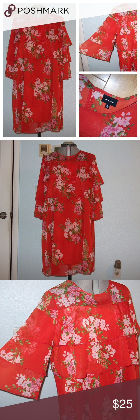 Who What Wear Size Xl Orange Floral Layered Dress Who What Wear How To Wear Clothes Design [ 1740 x 580 Pixel ]