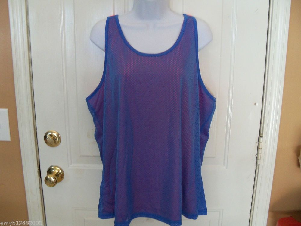 Danskin Reversible Brey Blue & Orange Mesh Tank Size XXL (20) Ladies NEW   #Danskin #ShirtsTops