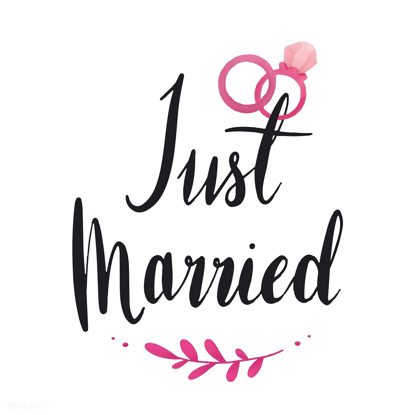 Just Married Typography Vector In Black Free Image By Rawpixel Com Just Married Wedding Wishes Quotes Happy Married Life