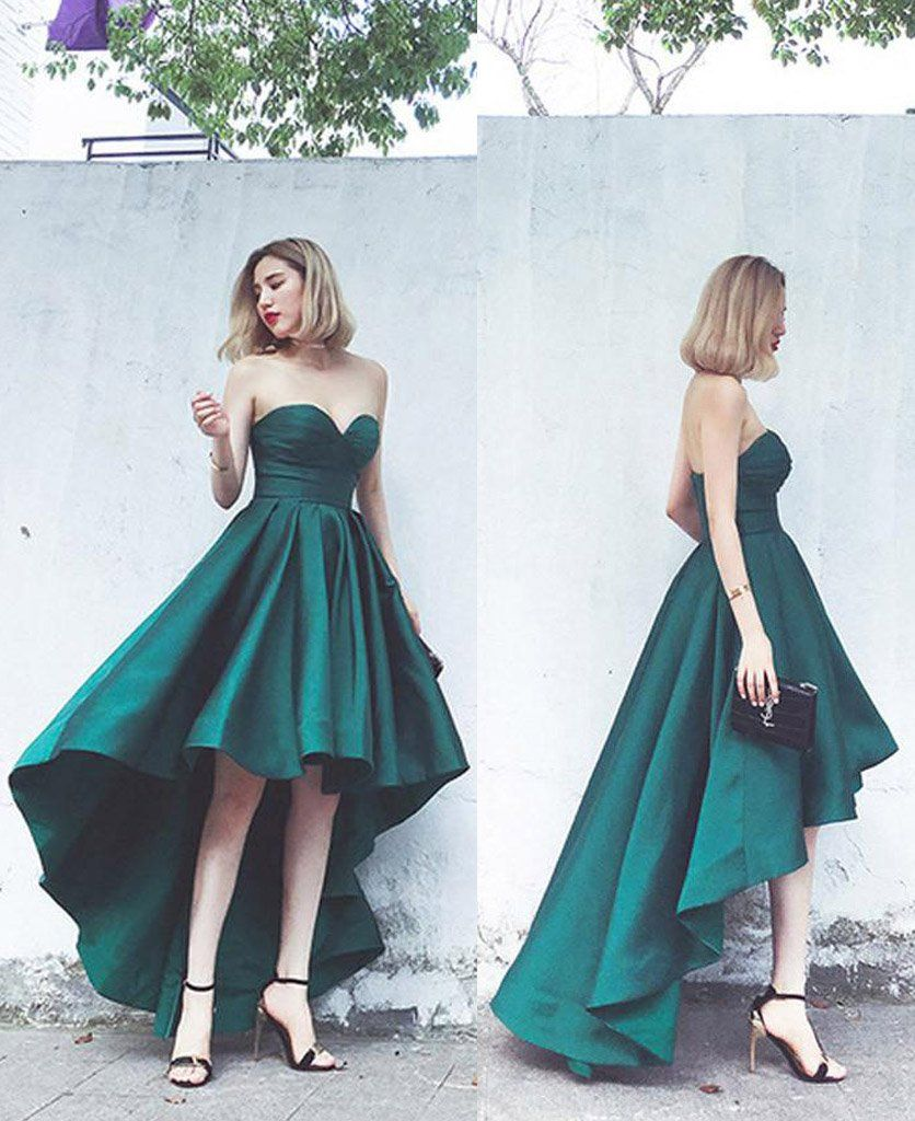 Simple Hi-Lo Emerald Green Strapless Prom Party Dress,Emerald Green ...