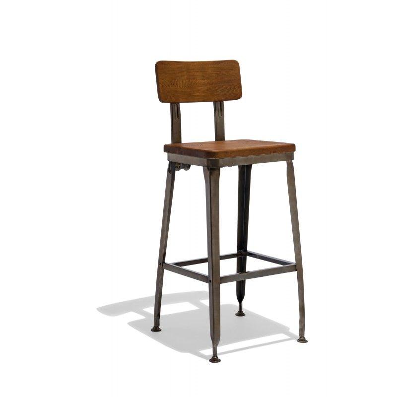 Octane Bar Stool With A Wood Seat Farmhouse Bar Stools Rustic