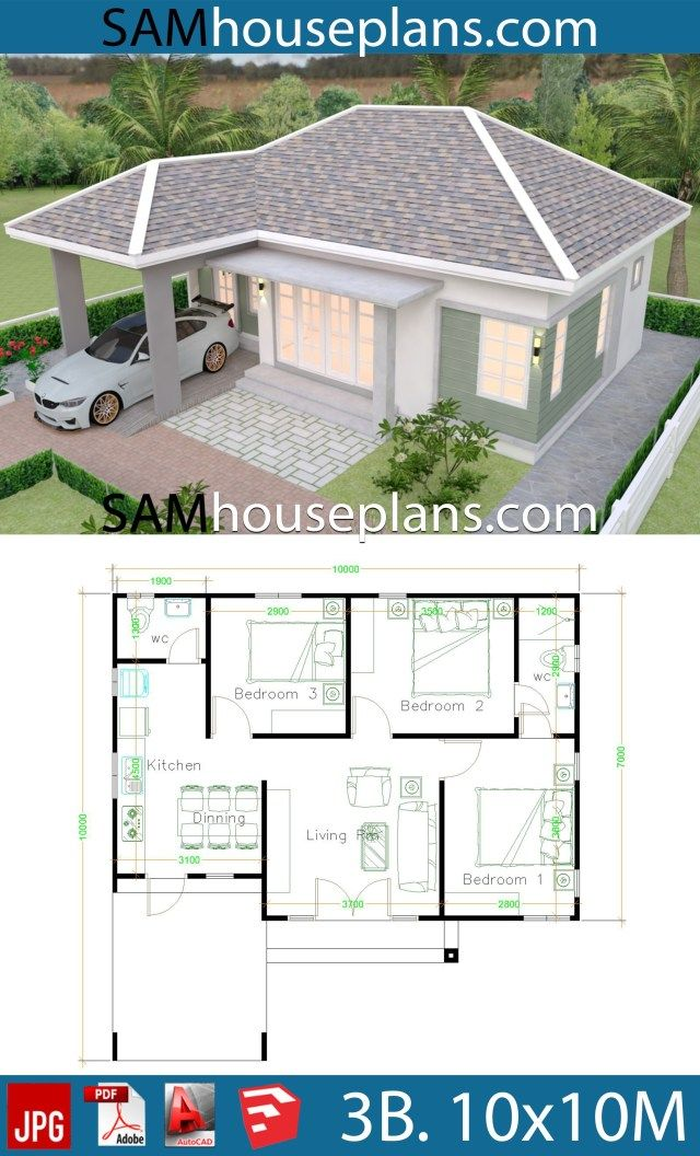 House Plans 10x10 With 3 Bedrooms Sam House Plans House Plan Gallery Small House Blueprints House Construction Plan