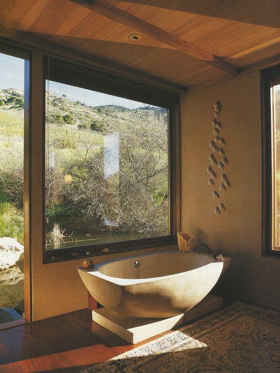 free-floating concrete bath tub in Napa Puddle House | Baby Farm ...