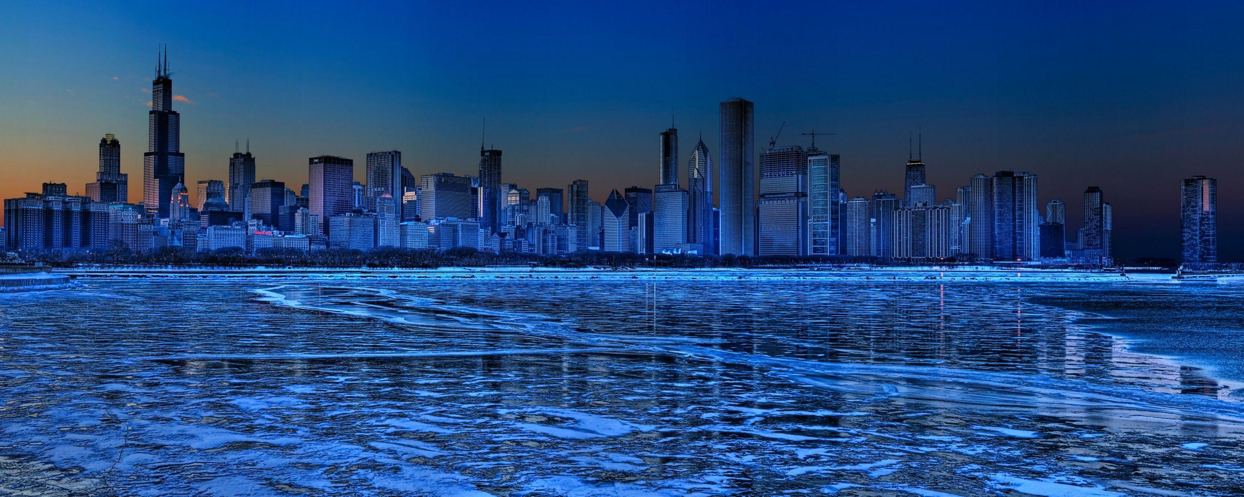 Extended Desktop Wallpaper City Landscape Blue City Dual Monitor Wallpaper