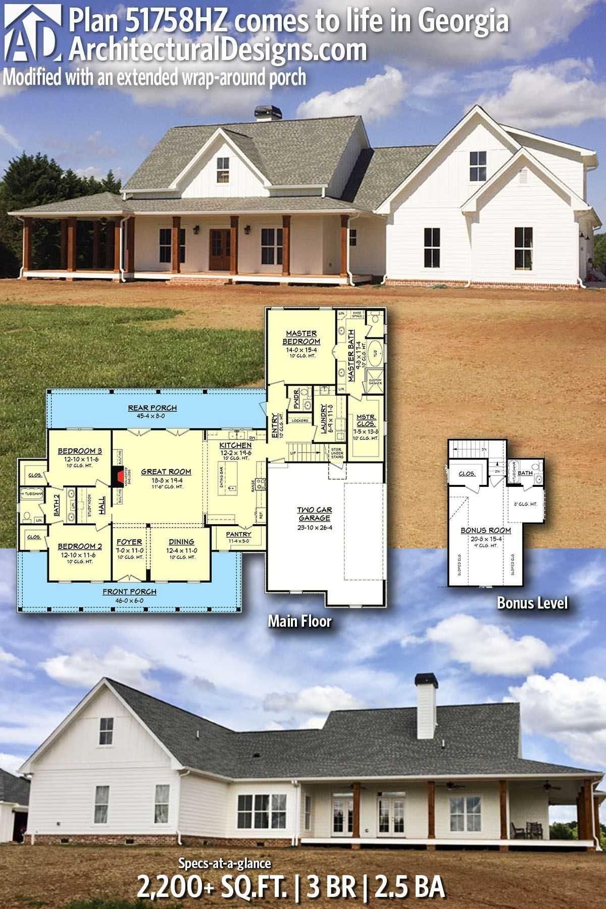 Wrap Around Porch Modern One Story Farmhouse Plans Beautiful Plan Hz Three Bed Farmhouse With Optional Bo New House Plans Farmhouse Floor Plans Farmhouse Plans