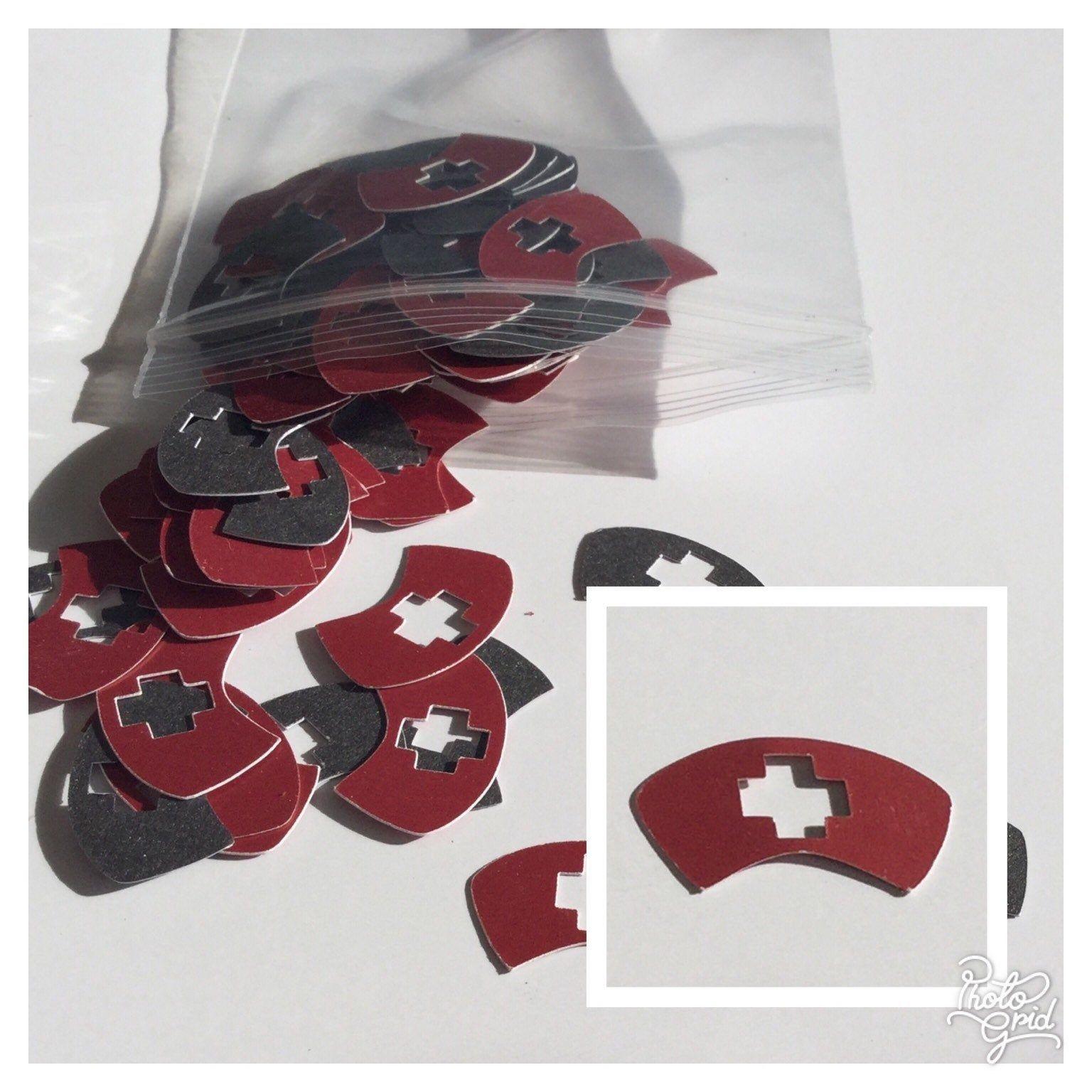 Nurse Medical Confetti 100 Pieces Of Scarlet And Gray Nurse Hat