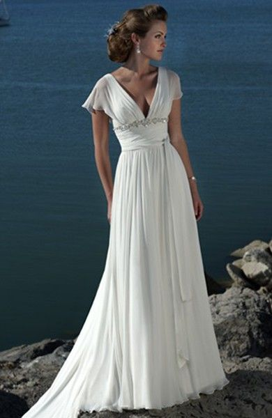 Vintage Fly Sleeve Beach Wedding Dress - Beach Wedding Dresses ...