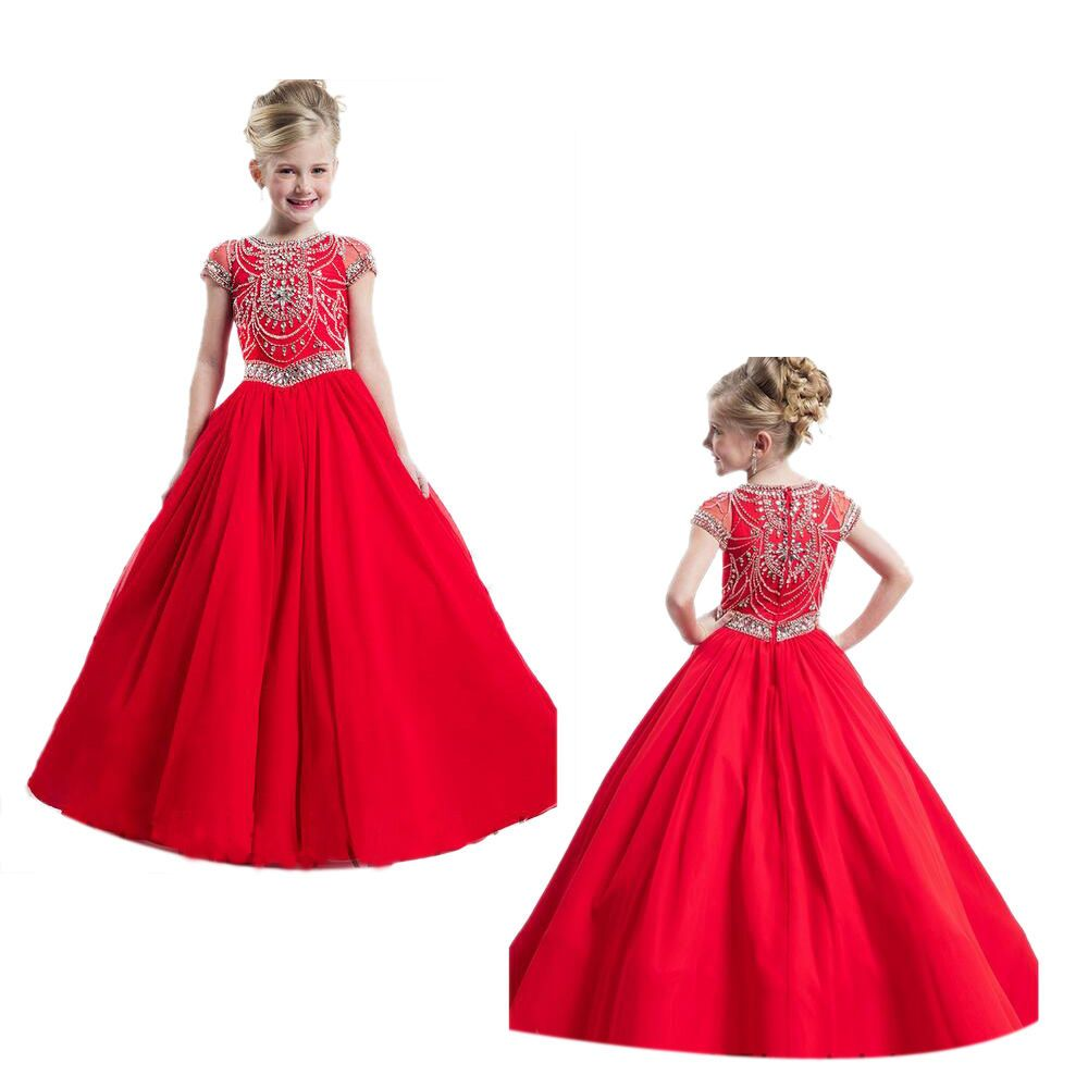 Red Flower Girl Pageant Dress Kids Formal Ball Gown Princess Party ...
