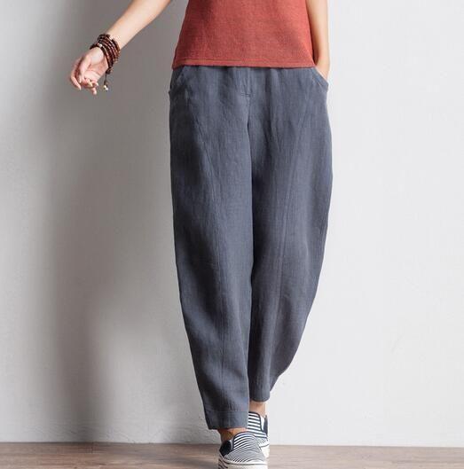 a9f0a1aa291d6 Bloomers pants for women plus size gray black high waist harem pants casual  capris linen spring autumn loose trousers bsz0701