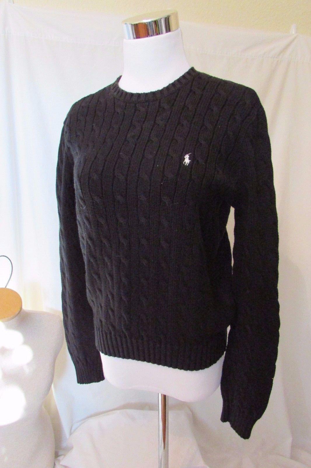 Ralph Lauren Golf Crewneck Cable Knit Solid Black Sweater Women's ...