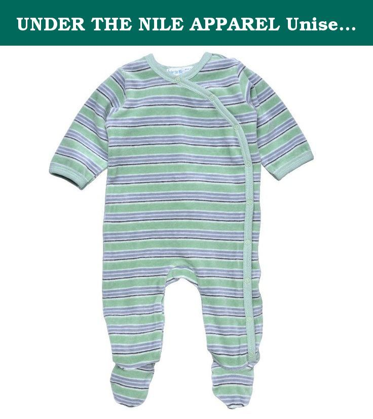 9a82557a9 UNDER THE NILE APPAREL Unisex-Baby Infant Velour Stripe Footie, Green/Gray,