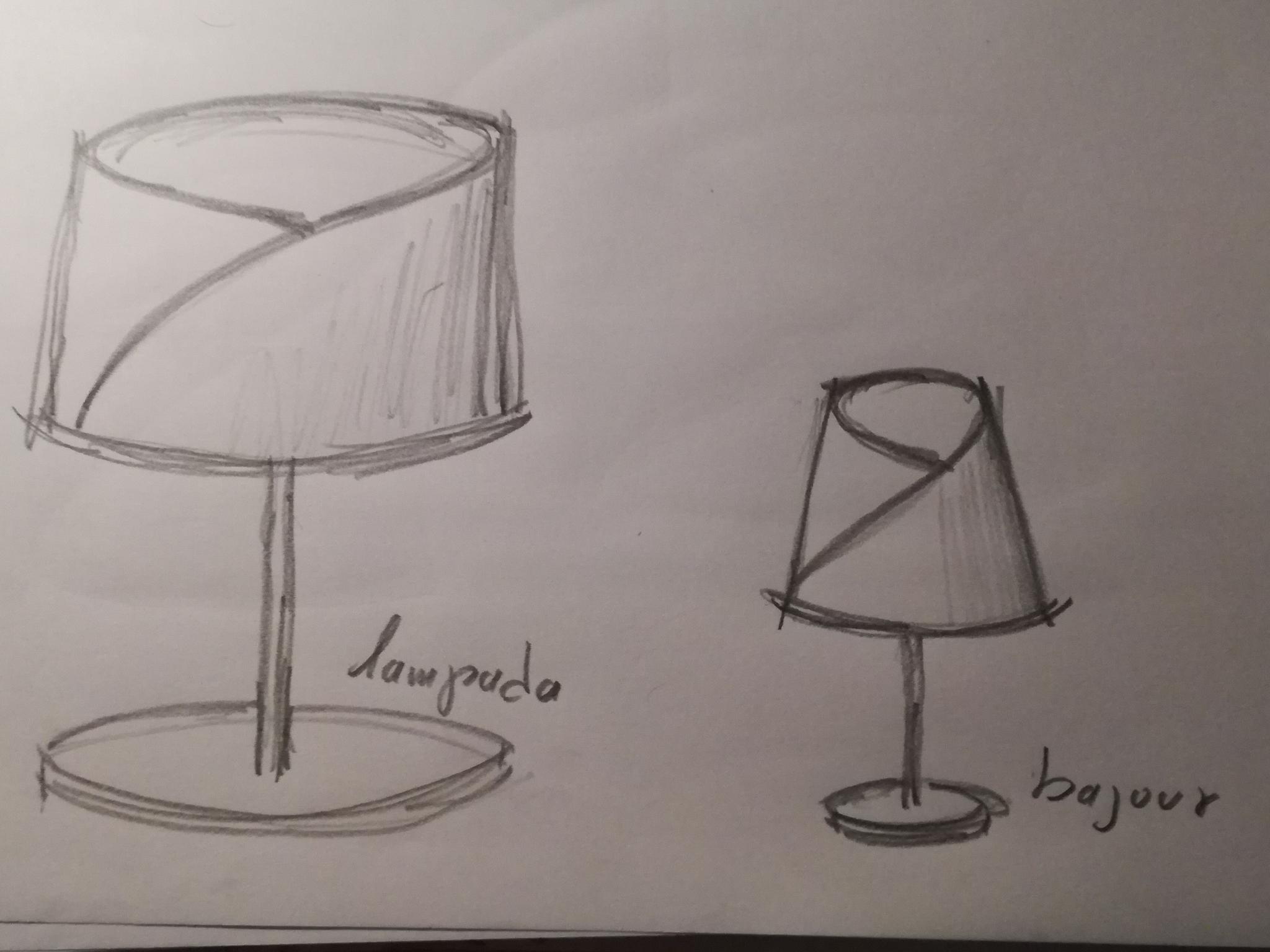 Progetto lampade con paralume in fibra di carbonio