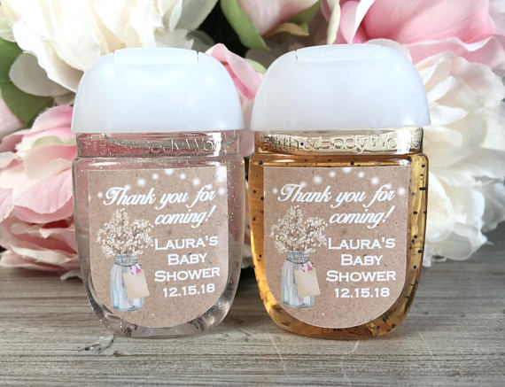 Metallic Look Heart Theme Wedding Hand Sanitizer Favors With