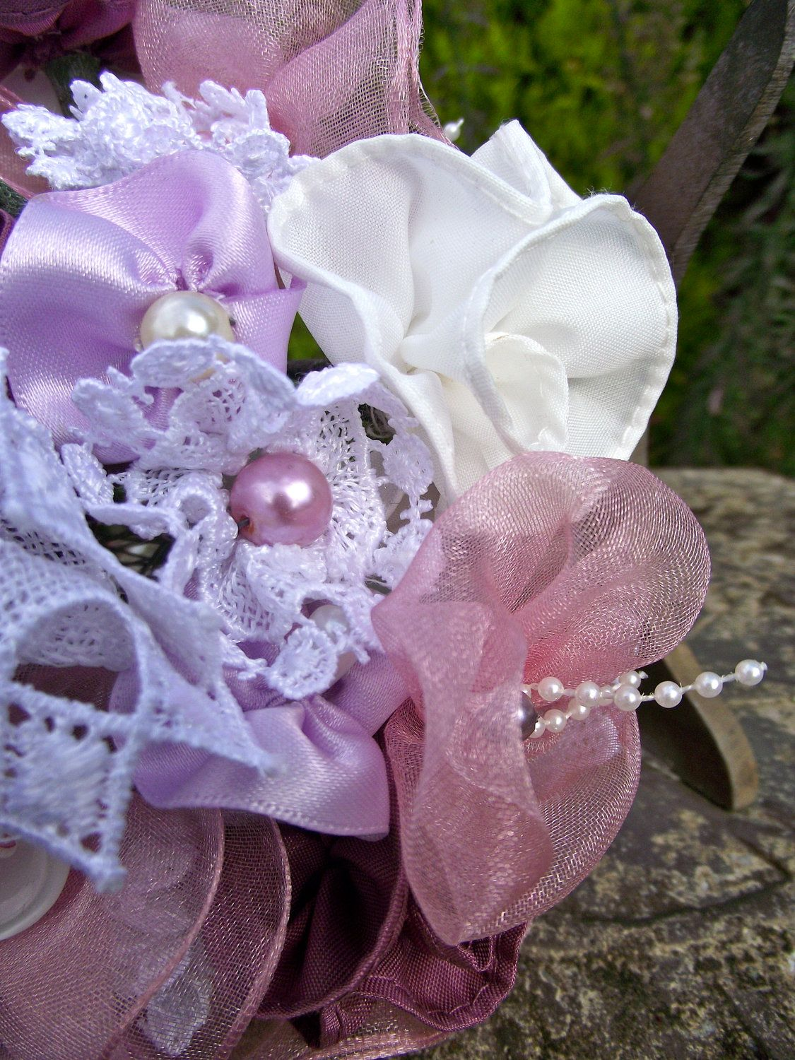 Purple And Pink Fabric Flower Bouquet The Individual Pieces And