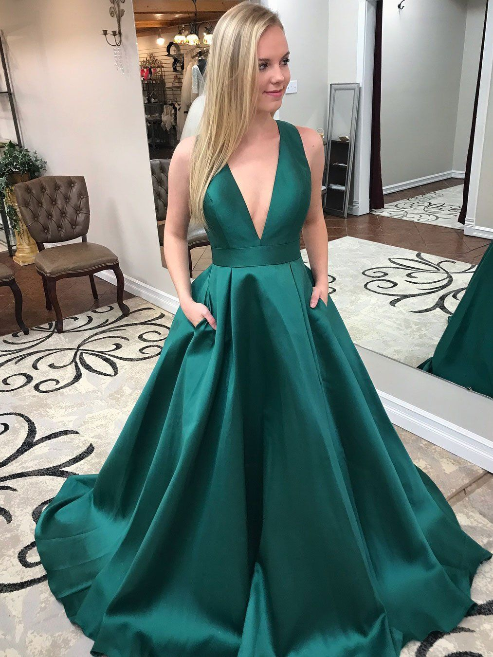 Long Green Deep VNeck Bowknot Formal Evening Ball Gowns with Pocket