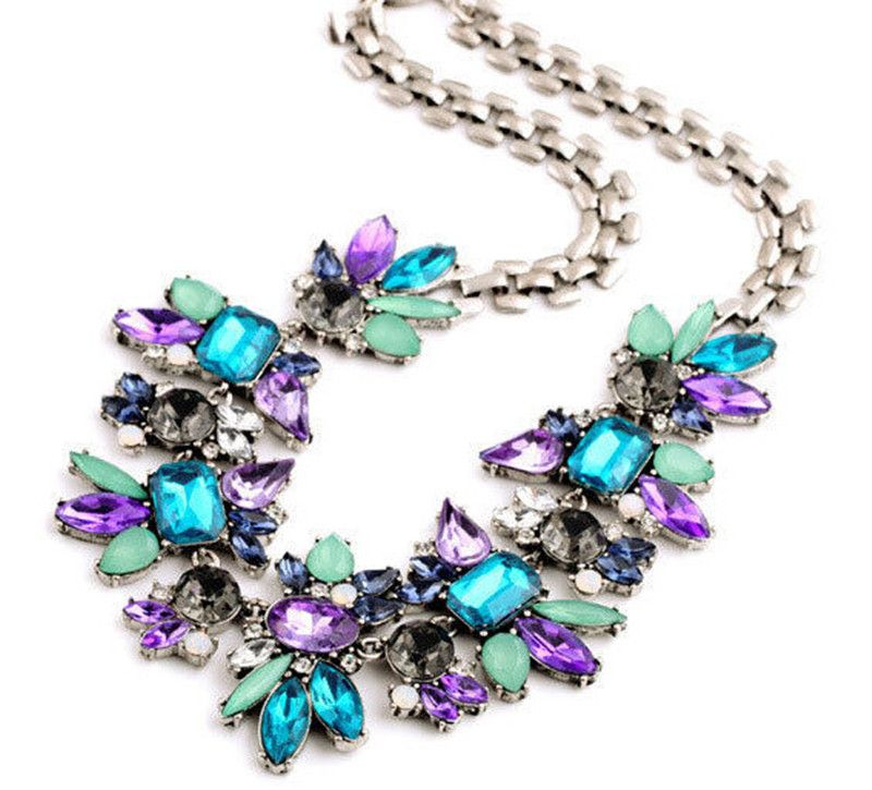 Fashion Vintage Statement Choker Necklace Collier femme Colorful Resin Gem Necklaces & Pendants Maxi Chunky Necklaces