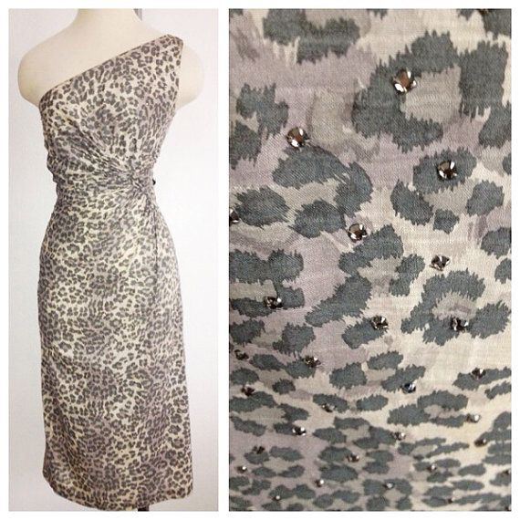 Vintage 1950s 1960s One Should GRAY Leopard  Cocktail by hipsmcgee, $395.00