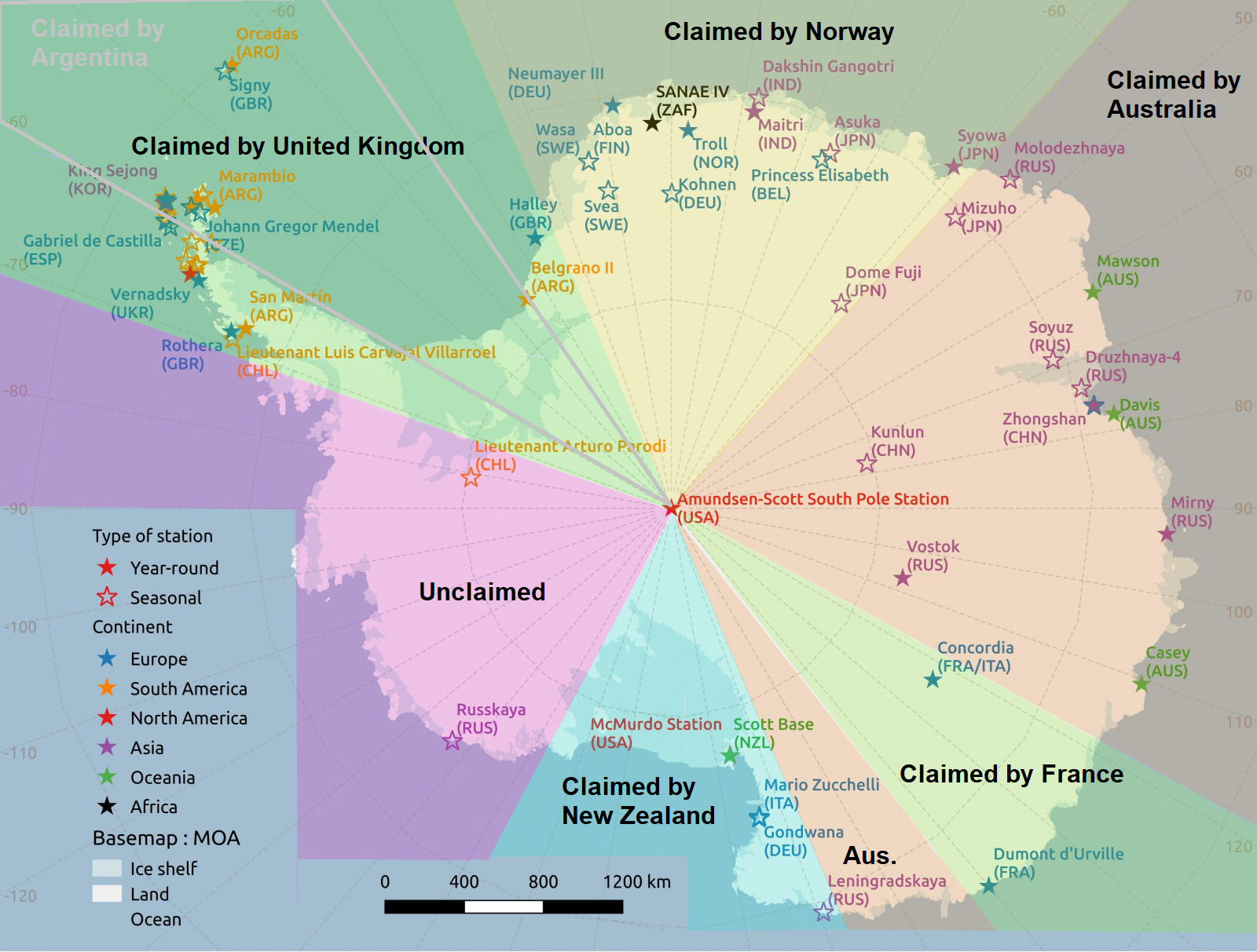 Antarctica Research Stations And Land Claims In