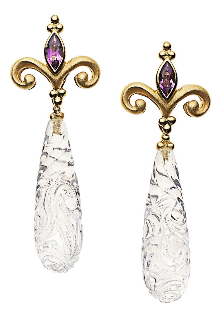 Estate Jewelry Earrings Amethyst Quartz Gold Paula Crevoshay